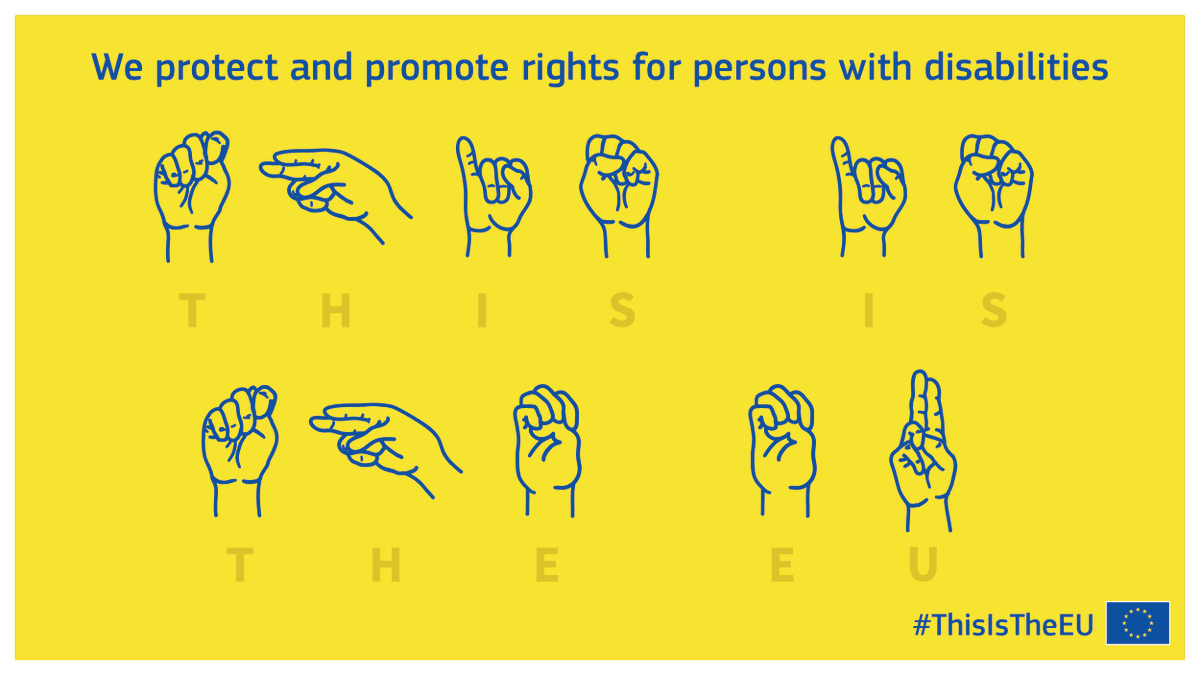 Today is #IDSignLanguages!   We love our multilingual Union, and multilingualism includes sign languages! We believe our strength is our diversity.   In 2021 we will present a strengthened European disability strategy.   Together we will build a #UnionOfEquality! #ThisIsTheEU https://t.co/f4LYY6QfuL