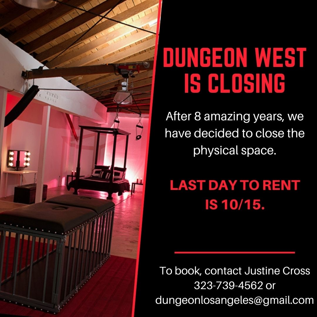 .@DungeonWest is closing!  Last day for rentals is 10/15  The best way to support Us:  1. Rent the space: https://t.co/rChwje34N5  2. Share this message  3. Come to the Everything But the Domme sale: https://t.co/Qe2vCuuZKc  Thank you!!! https://t.co/8zDh7pcivc