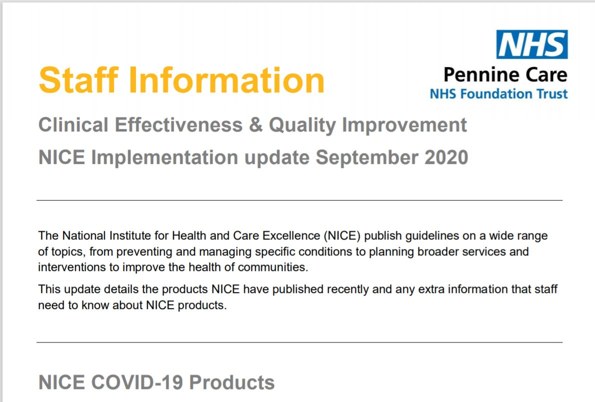 The Clinical Effectiveness & Quality Improvement Team produce Staff Information Bulletins for #PennineCarePeople. I produce the NICE Bulletin, find the latest on the @PennineCareNHS Intranet here: http://portal/CEQI/NICE%20Monthly%20News/NICE%20update%2024%20September%202020.pdf https://t.co/7neabl4BXk
