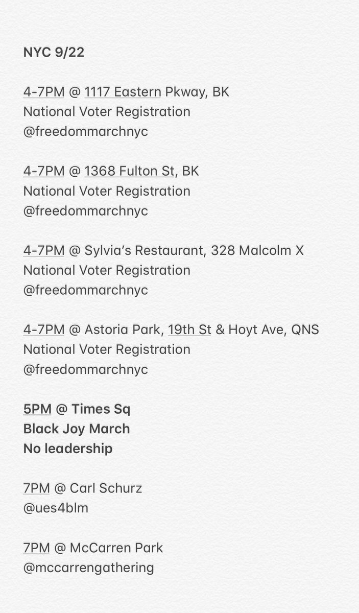 NYC Protests and related events for 9/22. All social tags are for insta.  The 5PM March for Black Joy will begin at the red stairs in Times Square. Please be advised this march has no leadership. https://t.co/mHtmO3Psez