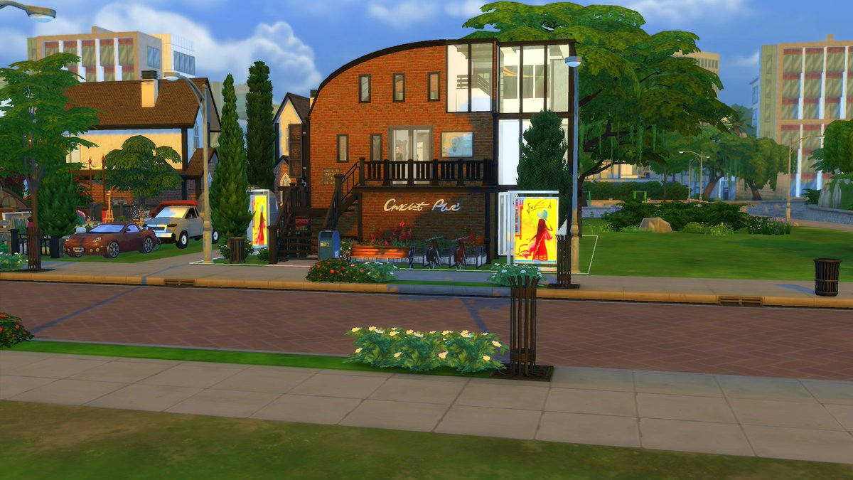 Hawker & Justin Gallery. The perfect place to educate, date and promote. Includes cafe, exhibitions and slots for Sims to hang their own artwork.  • origin ID: rhxann • Now available on the gallery.  #TheSims4   #ShowUsYourBuilds  #StayandPlay #SimsCreatorCommunity https://t.co/XuFoBXhb3b