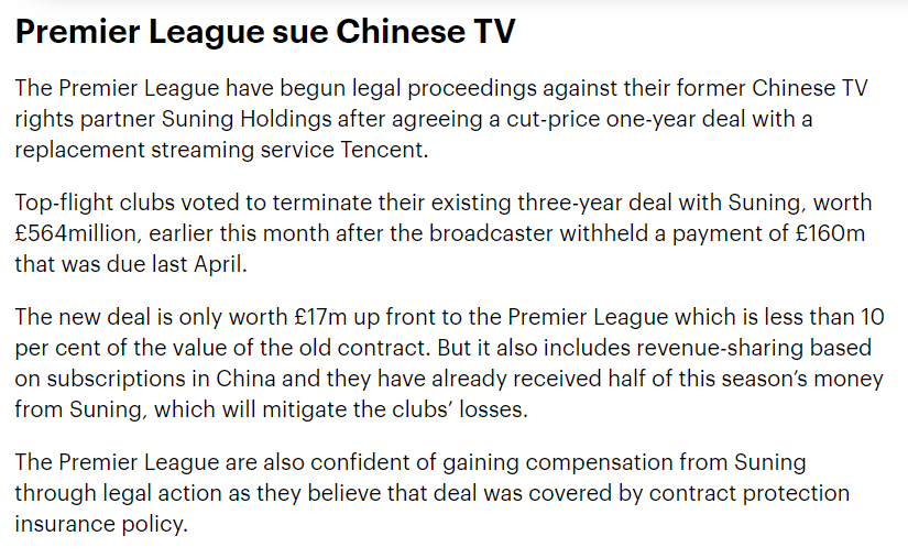 Interesting nugget in Matt Hughes' most recent Ahead of the Game column. The new PL rights deal with Tencent worth just £17m up front, with the league hoping to make up value in revenue share, pre-paid fees and legal compensation #SportsBiz https://t.co/qEuEPFbZBL