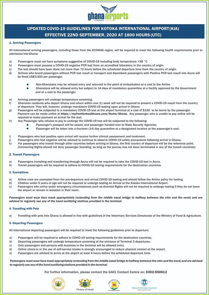 Updated COVID-19 Guidelines for KIA effective 22nd September, 2020 at 1800 Hours (UTC).  @air_cotedivoire @TurkishAirlines @TurkishAirlines @tapairportugal  @KenyaAirways  @Joy997FM @Citi973 @peacefmonline  @Utv @Starr1035Fm  @GHOneTV https://t.co/uVpe1JxhBA