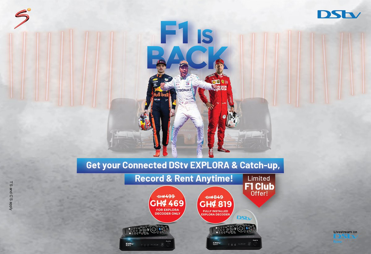 Round 10 of the #Formula1 World Championship 2020 plays host to Sochi's Russian Grand Prix this weekend, and all the action will be LIVE and in HD on DStv. Watch this space and join us at our next #F1ViewingPartyGH to watch the race, and get a cool discount on the DStv Explora! https://t.co/XV4ZOMvHxQ