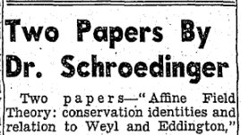 "test Twitter Media - Date: 01 December 1943 Paper: The Irish Press Headline: Two Papers by Dr. Schroedinger Synopsis: 1943 was a busy year for Schroedinger. Not only did he deliver the ""What is Life?"" Lectures in @tcddublin in February in November he delivered two papers in the @RIAdawson (1/2) https://t.co/7iMnKaH6xB"