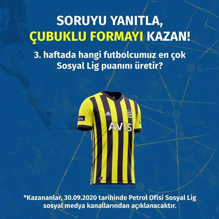 İmzalı forma ödüllü yarışmamız başladı! #PetrolOfisi #SosyalLig #Fenerbahçe   Sıradaki maçta hangi futbolcumuz en çok Sosyal Lig puanını üretir?  Tahminini yoruma iki arkadaşını etiketleyerek yaz, @sosyallig hesabını takip et, çekilişe katıl. Unutma her yorum bir çekiliş hakkı. https://t.co/Z7ISYjmHF6