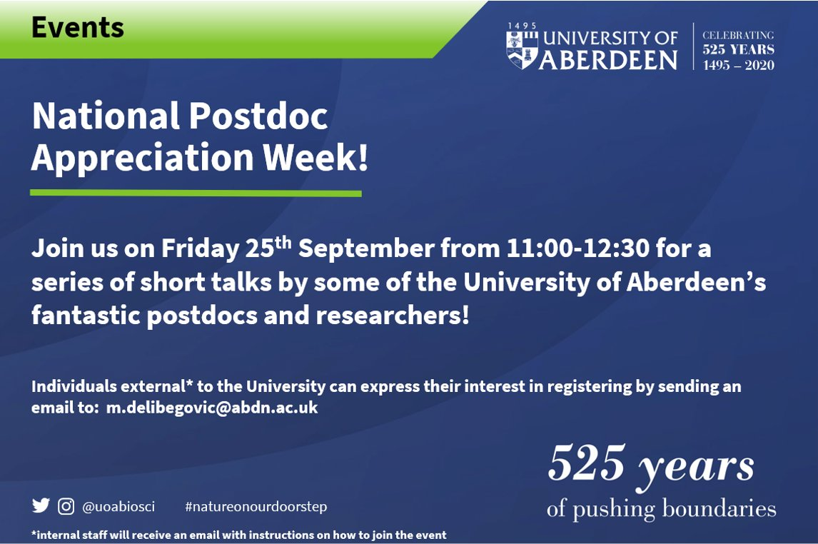 We're incredibly fortunate to have a fantastic cohort of postdocs, and #NPAW2020 is all about shining a light on the amazing work they do! We encourage postdocs to share research and everyone else to show their appreciation using #LovePostdocs! #natureonourdoorstep #scicomm https://t.co/3wTh2s3ppm