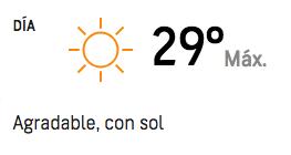#Clima   Se prevé una temperatura máxima para hoy de 29 grados en #SantaCruzBo ¡Que tenga un buen día! https://t.co/rVvuvLy84r