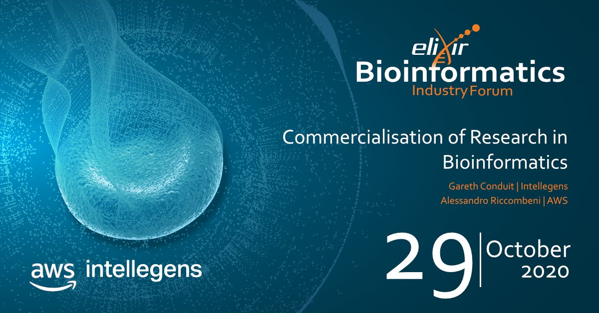 Do you want to explore the motivations behind the commercialisation of research in #bioinformatics? Join @AWS_Partners  and @intellegensai next month! @riccombeni  ➡️https://t.co/U1luxApKHP #EBIF2020 https://t.co/CghS550Pgz