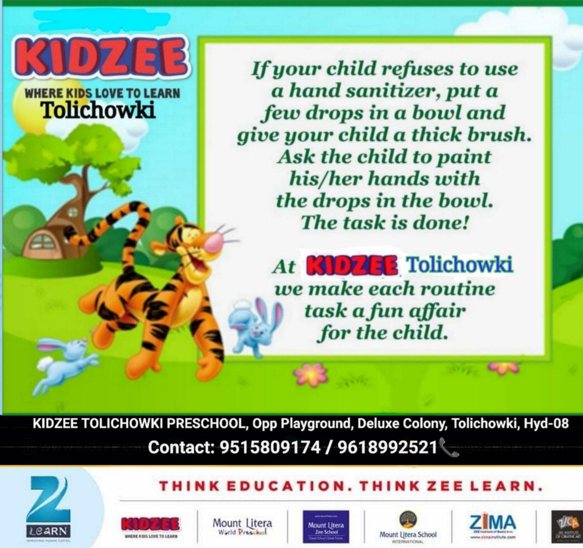 At KIDZEE TOLICHOWKI, we make each routine task a fun affair for the child. Keep sanitizing and stay healthy! . . . #kidzeetolichowki #keepsanitizing #KidzeeStudents #stayhealthy #StayHome #staysafe #admissionopen2020_21  #bestpreschool #kidzeeindia #healthytips #sanitize https://t.co/CZnsWDoFN8