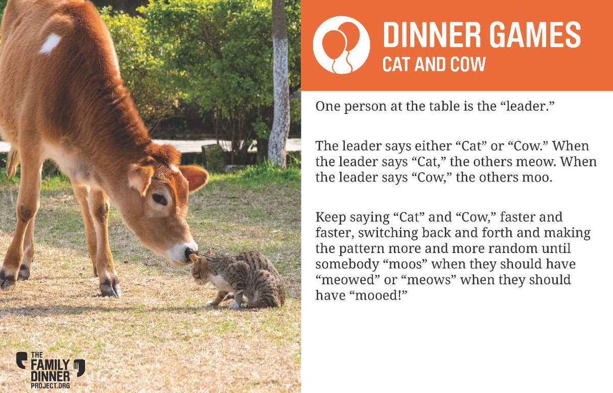 It's supremely silly and tons of fun. Play Cat and Cow at your next #familydinner! #dinnergames #activities #fun #parentinginlockdown https://t.co/XY1Cbv6jOI