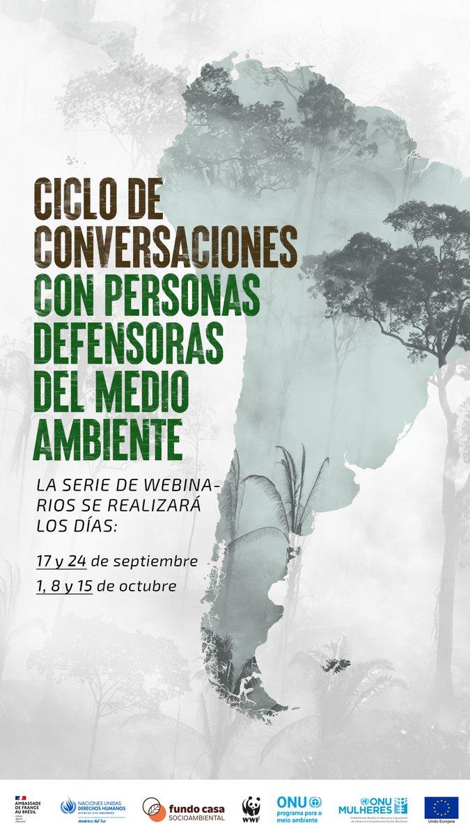 """¡NO TE PIERDAS EL CICLO DE CONVERSACIONES CON DEFENSORXS DEL MEDIOAMBIENTE! 🌎💧 La próxima charla será sobre el tema """"Personas defensoras del medio ambiente: derechos, marcos nacionales e internacionales""""  📅 24/09 - 15hrs (Santiago/Brasilia) 👉 + info: https://t.co/qdlAJnWVgD https://t.co/R9LsUQtKGb"""