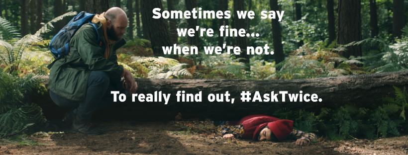 """There's no easy way to ask """"Are you thinking about suicide?""""  If you're worried about someone, it's one of the most important questions you can ask. It's also OK to #AskTwice Visit our website for more info: https://t.co/68uavaNxnI https://t.co/h8YLcnF7up"""