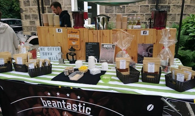 # Beantastic save the day with their selection of hot drinks for sale, while we cannot open the market kitchen. They also blend their own ground coffee and coffee beans  Find them Sat 26th Sept 10am-1pm and also in stock @CandiedPeelCake #Farsley https://t.co/JKIjeJXaRL https://t.co/3iMta2CpT8