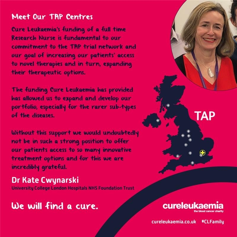 👋 #London 👋  We continue to introduce the @Tap_Clin_Trials Centres & nurses we provide funding to across the UK, thanks to your support   💬 Dr Kate Cwynarski 💬 Maia Collins  👉 https://t.co/r6VOg6hAHo  #CLFamily #WeWillFindACure #CLTap #BCAM #BloodCancerAwarenessMonth https://t.co/4Fw6SRxnM1