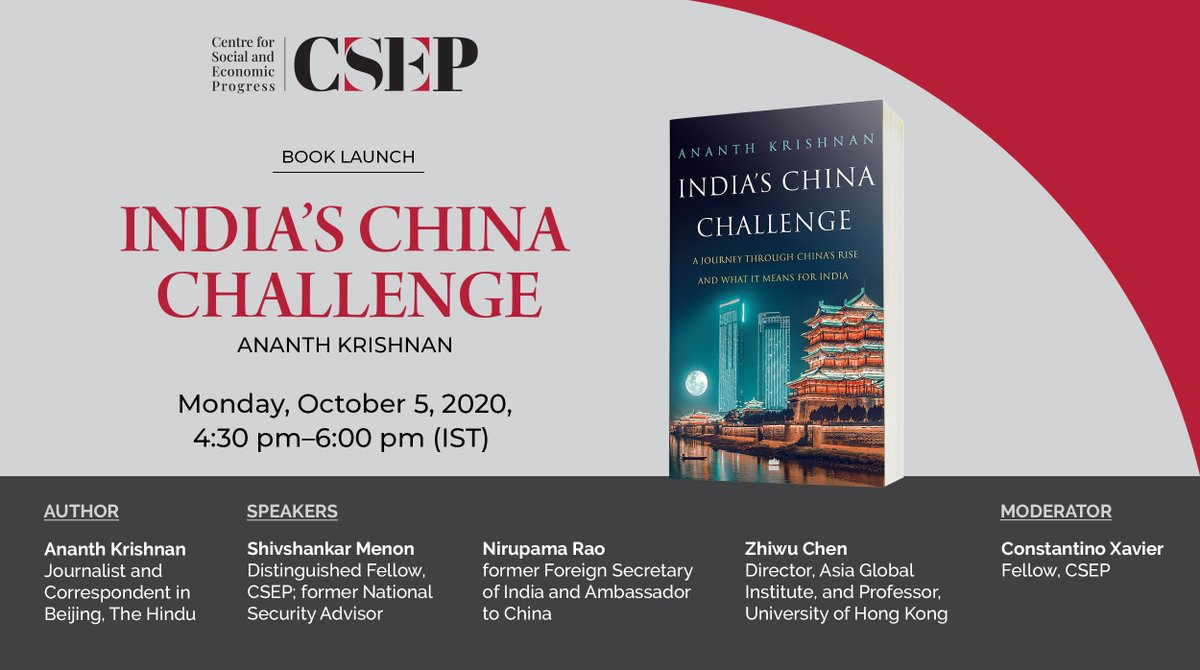 "Book Launch | Join a discussion on @ananthkrishnan's new book ""India's China Challenge"" with @ShivshankaMenon,@NMenonRao, Zhiwu Chen & @ConstantinoX.   https://t.co/jULpM59csm  @HarperCollinsIN https://t.co/BL0FuggRLG"