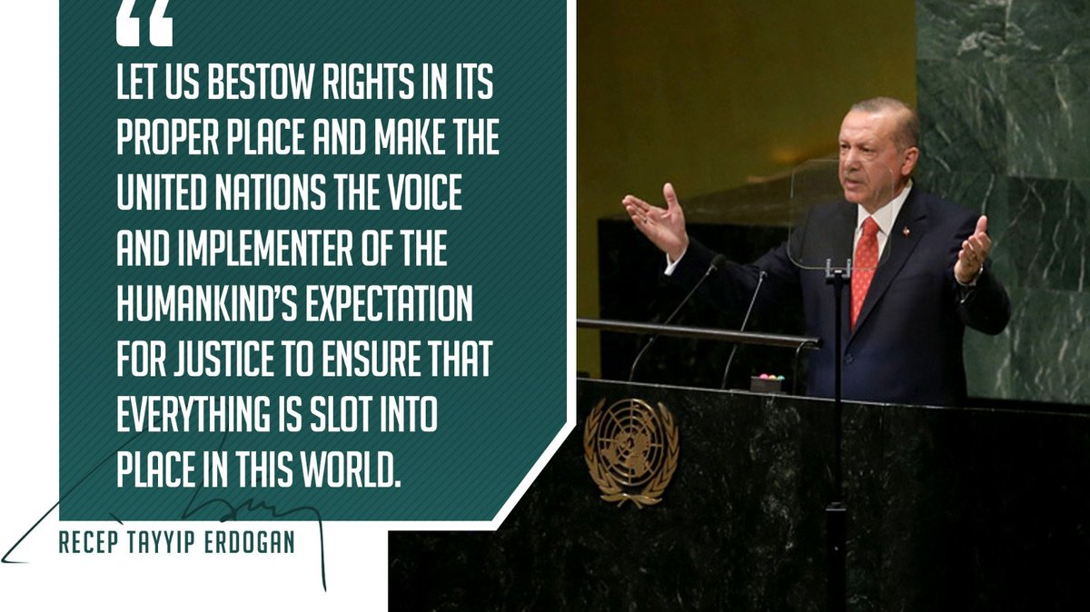 "President @RTErdogan:  ""Let us bestow rights in its proper place and make the United Nations the voice and implementer of the humankind's expectation for justice to ensure that everything is slot into place in this world.""  #HakikatinSesiErdoğan https://t.co/3PGj2p3NvN"