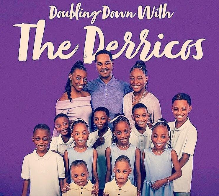 """Imagine quarantining with 14 children. Karen and Deon Derrico are living that life now. They star in TLC's latest super-sized family series, """"Doubling Down with the Derricos."""" Tune in for the premiere episode, tomorrow at 6pm on TLC Ch 135 on Compact. https://t.co/ZE1hfqWxqX"""