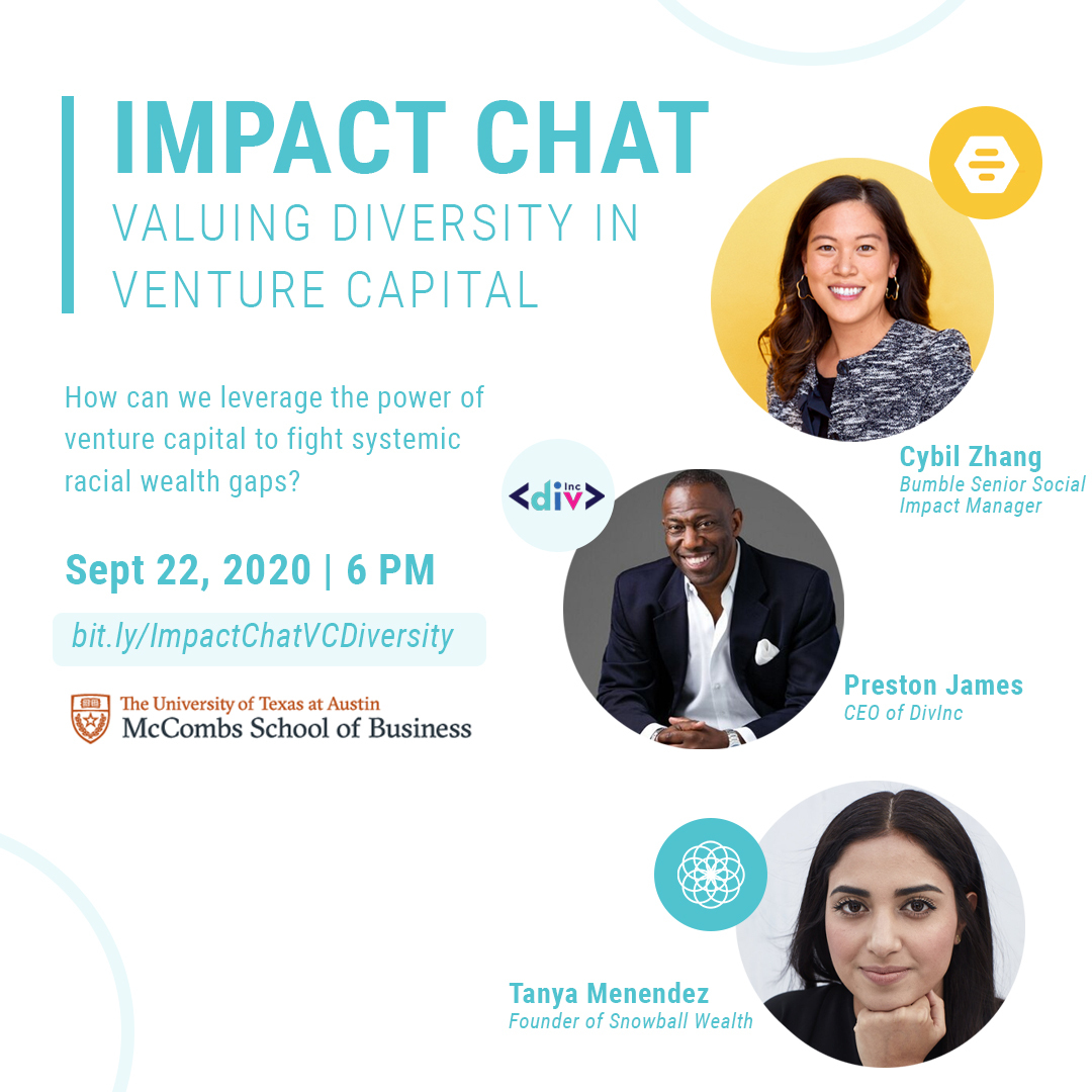 We can't wait to see you at tonight's interactive Impact Chat on Valuing Diversity and Inclusion in Venture Capital! Not registered? RSVP here!  https://t.co/fqlnPtmr6X #WhereProfitsMeetPurpose @UTexasMcCombs @UTAustin @bumble @DivIncatx @asksnowball https://t.co/aiEZZtS2vg