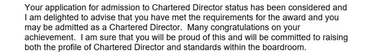 Delighted to receive the news by @The_IoD that I have passed to become a Chartered Director! Sincere thanks to so many people for your invaluable support over the past five years of study. @IoDWales @CDir_org https://t.co/9LWJK03RP1
