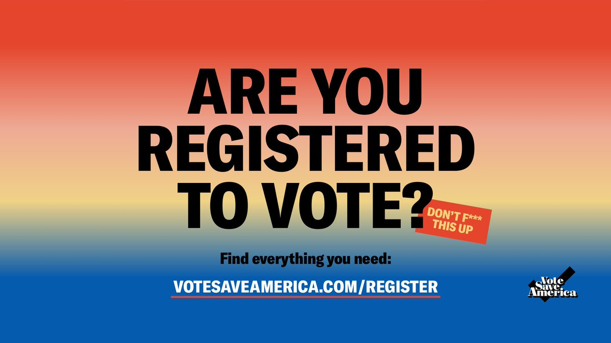 We need more voters than ever for the 2020 election, yet we have more barriers than ever.   It's #NationalVoterRegistrationDay, and @votesaveamerica has all the info to register, check deadlines/regulations, etc.   Don't wait!  https://t.co/NbTPl0HLEH