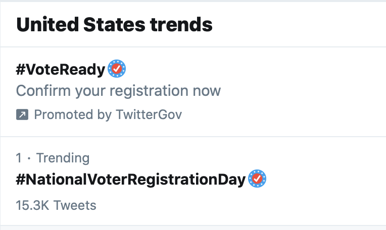 BOOM! 💥 #NationalVoterRegistrationDay is the #1 trending topic on Twitter. Now, quit celebrating and go get registered ---