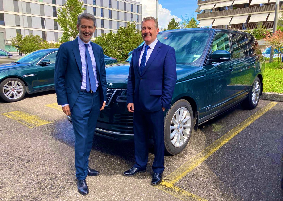 Enjoying another busy day on the #WTODG campaign trail in Geneva with @JulianWTO_UN. I am grateful for all the support I am receiving from @wto members. It is important that the next Director-General has the ability to deliver for all #wto members. #LiamFoxForWTO https://t.co/52Ihi4mXzm