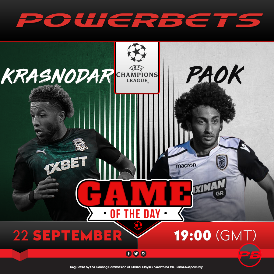 Powerbets Ghana On Twitter The Uefa Champions League Is The Tournament We All Love To Watch It Begins With Qualifiers And Today S Match Is One Between Krasnodar Vs Paok Let S Play Https T Co I5axpc1hfm