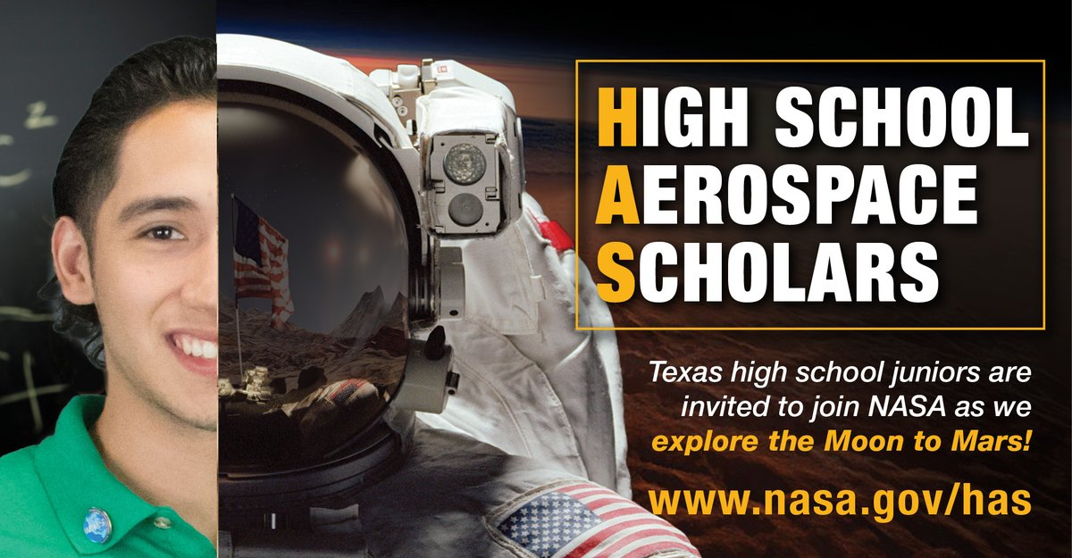 Do you know a Texas high school junior interested in STEM? 🔬💻⚙️🧮 Have them attend the #NASAHAS info session on Sept. 23 at 6pm CT to learn how they can become a High School Aerospace Scholar! Join the info session here🔗go.nasa.gov/3hLcXJW