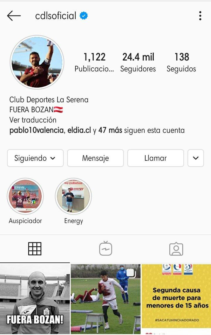 Atentos papayeros: Se tomaron el IG de Club Deportes La Serena! Vayan a darle amor a Bozan. #CDLS #fuerabozan #LaSerena  https://t.co/doAXYmQTl6 https://t.co/Cn3SRWEoWR