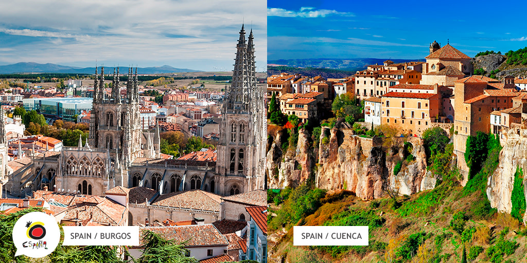 Here's a tricky one 👉 If you had to pick one of these cities as your next destination which one would it be? 🤔  a) Burgos  b) Cuenca   Take your pick! 😊 Next week we'll share a video tour of the winning city 👏  #BackToSpain #SpainExperience https://t.co/TGM1bR6mUs