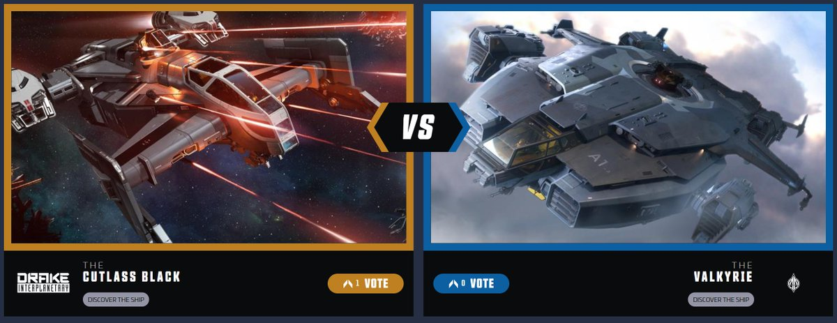 It's the last match up of the Ship Showdown Semi-Finals! This time it's the trusty Cutlass going up against the troop transporting Valkyrie.   Which one will face off against the Carrack in the finals? You decide.  Vote now: https://t.co/PhMNSrGpKp https://t.co/AGZ8cojt4B