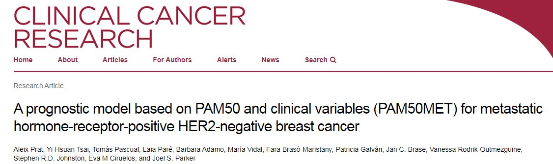📢 Our new article is out @CCR_AACR!  A prognostic model based on PAM50+clinical variables (PAM50MET) for metastatic HR+/HER2- breast cancer  745 samples across 2 phase III clinical trials (EGF30008+BOLERO2)  https://t.co/9o1mkAnDet  @hospitalclinic @idibaps @_SOLTI @OncoAlert https://t.co/DcGhBeMzR4