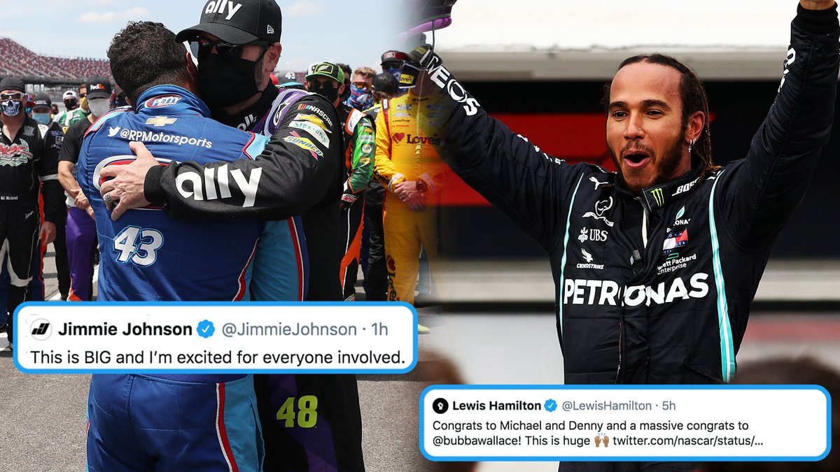 A historic moment for @NASCAR came Monday night, with the news that @Jumpman23 will become a team owner with @DennyHamlin -- with @BubbaWallace as their driver.  7-time Cup champion @JimmieJohnson, and @LewisHamilton who's well on his way to his 7th @F1 title, chimed in. https://t.co/n3vNrer4wb