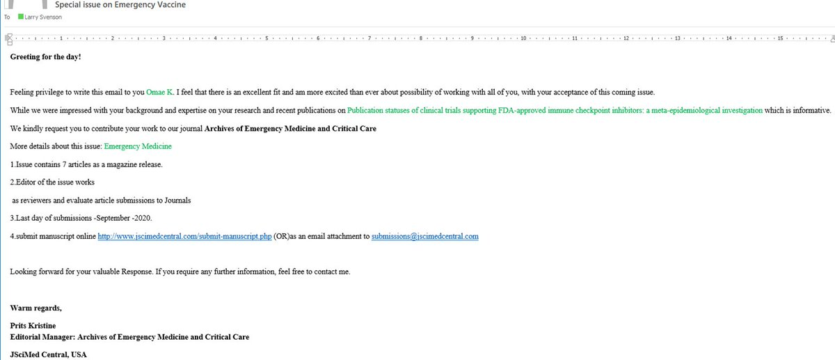 """""""Feeling privilege to write this email to you Omae K.""""  It must be a huge privilege to send me an email, but put in someone else's name.  #PredatoryPublishingEmails  #PredatoryJournals https://t.co/eCnz2eVJPU"""