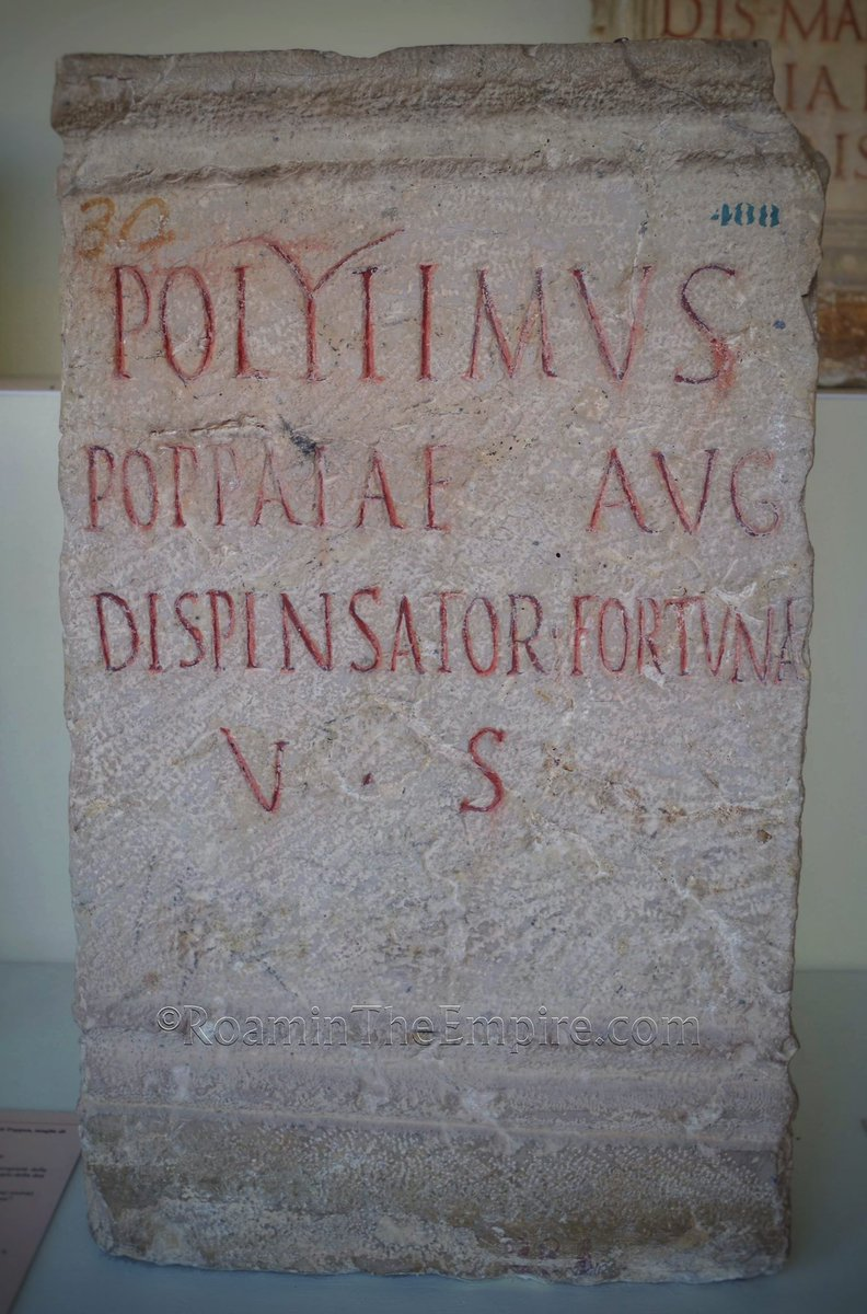 For #EpigraphyTuesday, a dedication to #Fortuna by Polytimus, an estate manager (dispensator) of Poppaea Sabina, the second wife of #Nero. Found in Civitella d'Arna, now in the Museo Archeologico Nazionale dell'Umbria in #Perugia!   #Archaeology #RomanArchaeology #Italy #Umbria https://t.co/q3hLczUS56
