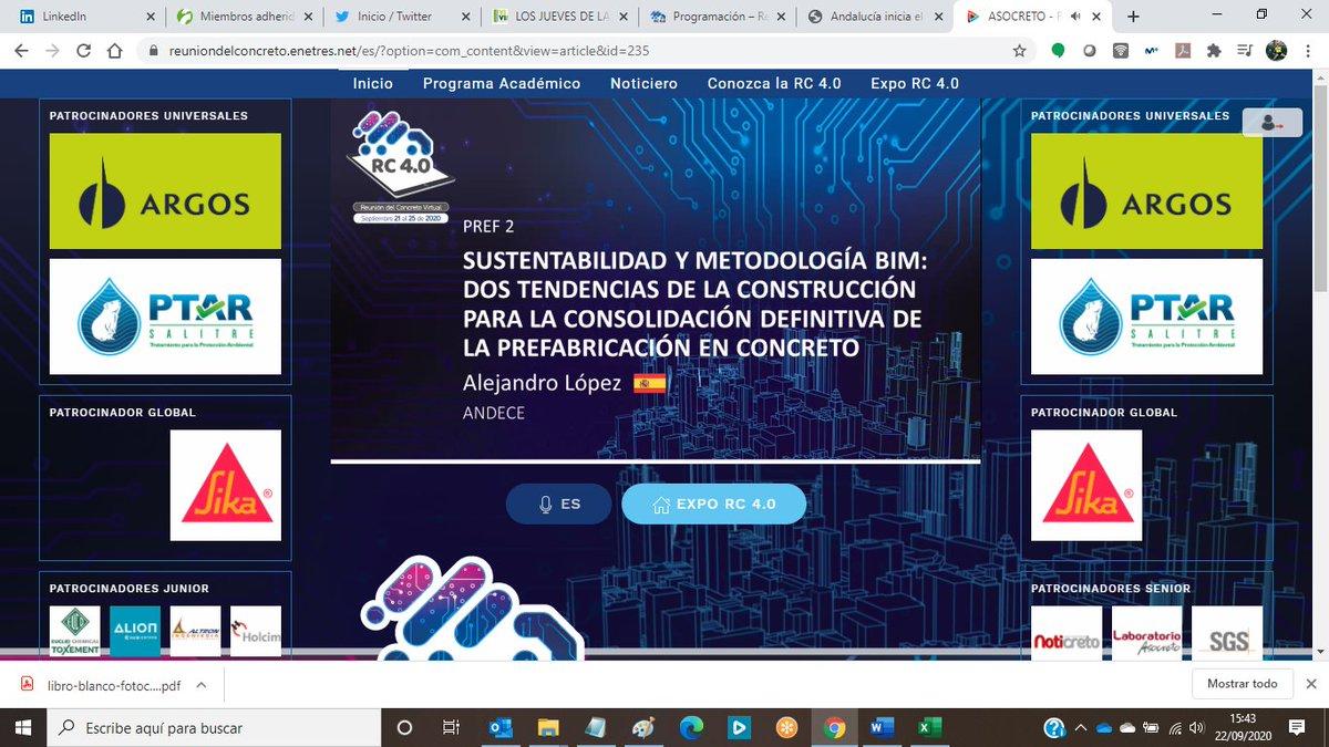 Iniciamos nuestra presentación en la Reunión del Concreto 4.0 #sostenibilidad #BIM #prefabricados #hormigón #industrializacion https://t.co/5eyEbcch9C