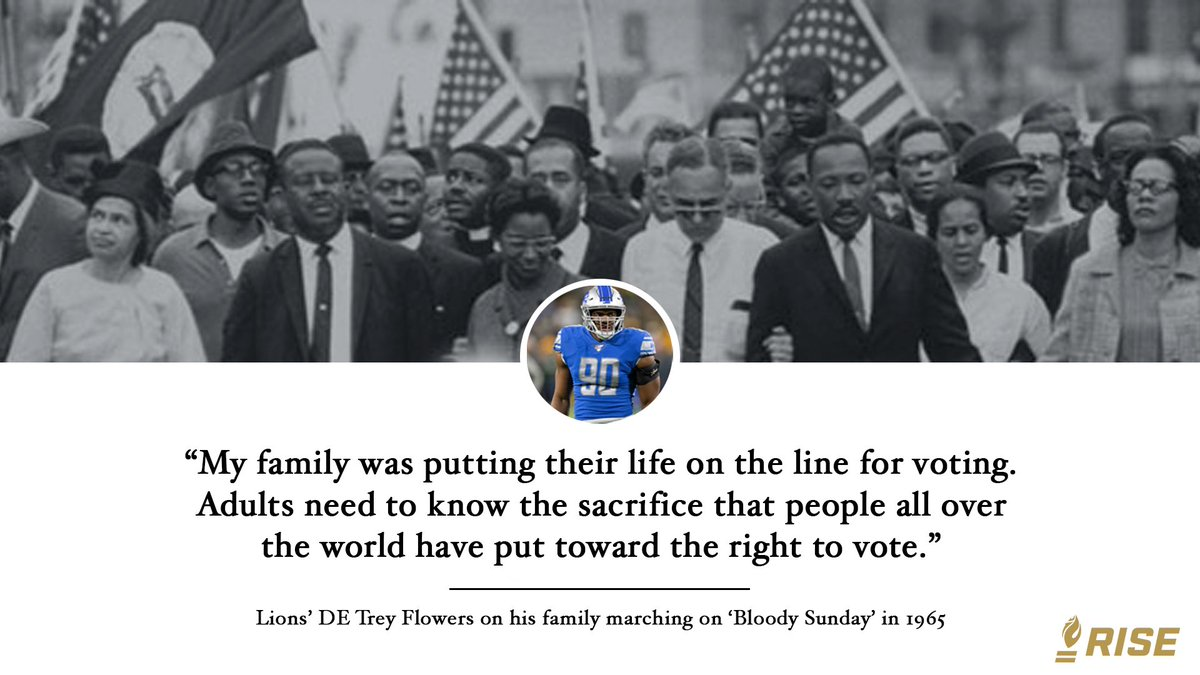 The @Lions @III_Flowers granddad, grandmother and uncle joined the 1965 march from Selma to Montgomery. Hearing his familys stories is why he is registered to vote. Celebrate #NationalVoterRegistrationDay by registering or checking your status at risetowin.turbovote.org!