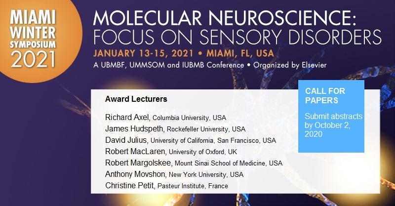 Award lectures by visionaries in #sensoryneuroscience research lead discussion at the 2021 Miami Winter Symposium #MWS2021. View all 24 invited speakers at https://t.co/lX1G7nBx7v. Abstract submission for talks and posters open until Oct 2. https://t.co/v8g5iAnBPD