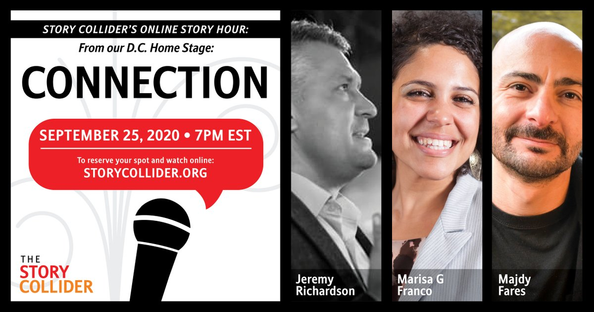 Join us Friday, September 25th at 7pm ET for a night of virtual stories about the power of connection with storytellers from DC! Featuring:  💫 @richardsonlj  💫 @DrMarisaGFranco  💫 Majdy Fares  Hosted by @EcologyOfShane + @webmz_! Details and RSVP here: https://t.co/I3GV82cPt7 https://t.co/suz6UR8Bki