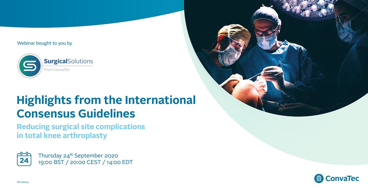 Don't forget, Thursday 24th September at 7pm!  Highlights from the International Consensus Guidelines on joint infection within Orthopaedics.  Learn about recent trends in practice to reduce complications in Total Knee Arthroplasty.  Sign up here:  https://t.co/B02oYFOJ2p https://t.co/Ug5RwfXBkd