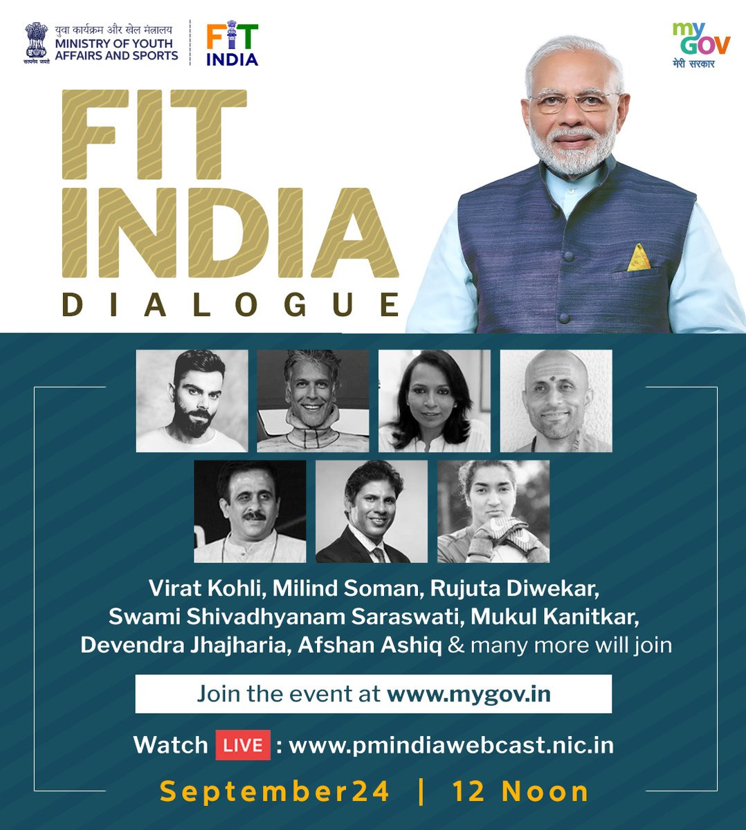 Narendra Modi,  Virat Kohli, Milind Soman, others to participate in Fit India Dialogue