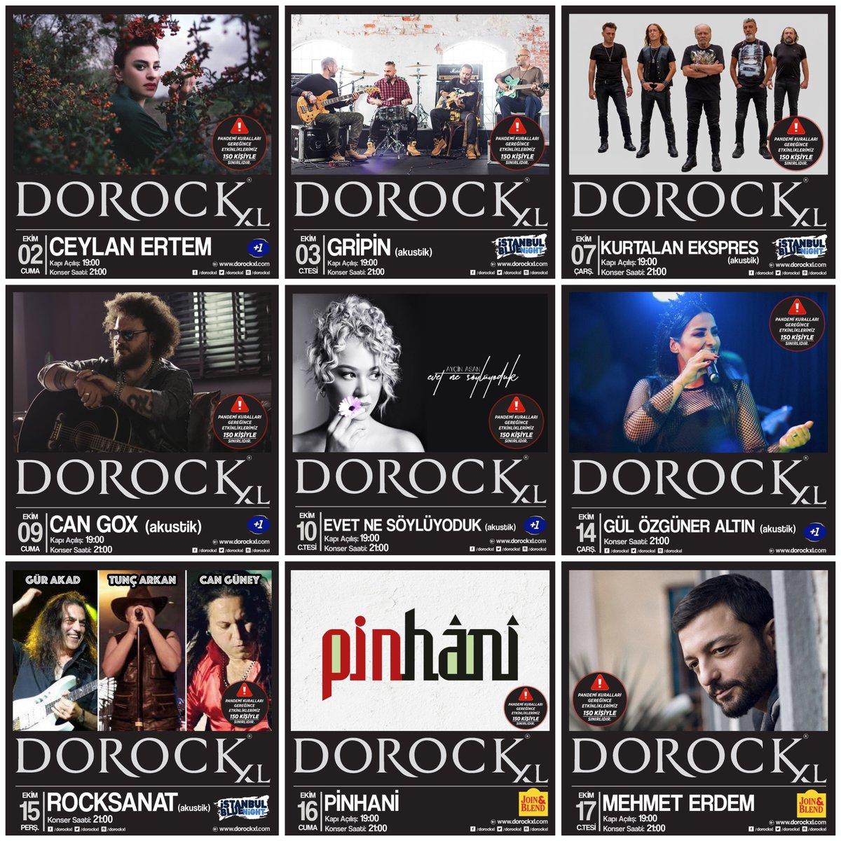 2-17 Ekim tarihlerinde Dorock XL sahnesinde izleyeceğiniz konserler!   ⚠️ Pandemi kuralları gereğince konser salonumuz 150 kişiyle sınırlıdır. Biletler Biletix ve Dorock XL gişelerinde.   #DorockXL #DorockXLKadıköy https://t.co/X7VaxionoD
