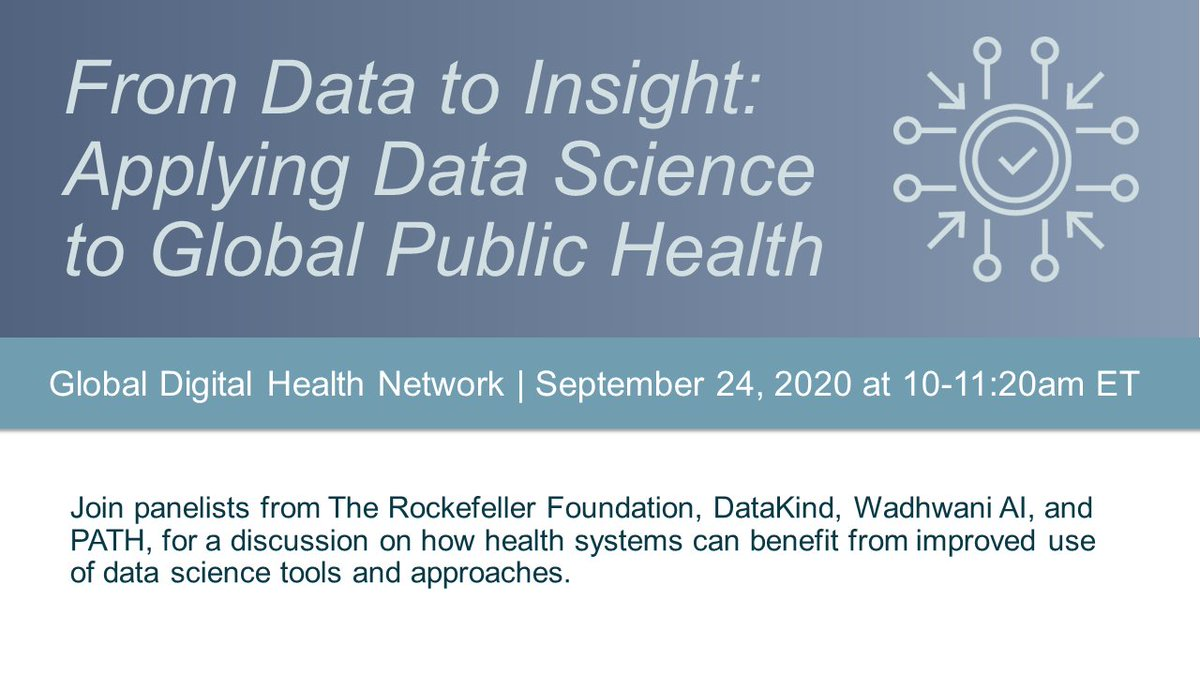 Digital tools give us data. Data science can give us insight. The next @THE_GDHN webinar, on Sept 24, 10am EDT/7:30pm IST, will dive into how data science contributes to health system strengthening. Register today: https://t.co/XUzEFregCi https://t.co/rUHdPwMXac