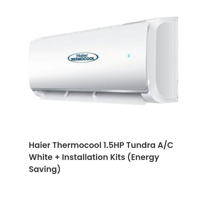 For sale  I.5 hp Haier thermocool AC  Specs : tundra ( energy saver) Brand New ( inside carton) + Installation kit. Location: Lagos Mainland Current Price range : 132k - 163k  *** Selling for 120k .  @Gidi_Traffic @bustopsng @SyntacleNig #TuesdayMotivation @CarDealerBot