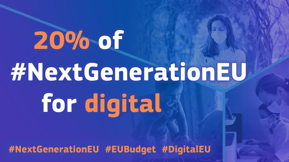 ⚡️🤖 Supercomputers, #EU data space, EU e-ID, connectivity, 5G, 6G & fiber: #NextGenerationEU 🇪🇺 is a unique opportunity for Europe, and the 20% will be dedicated to #digital.  ➡️ Let's make the forthcoming decade the Europe's #digital decade!    #SOTEU https://t.co/aGgv0htY60
