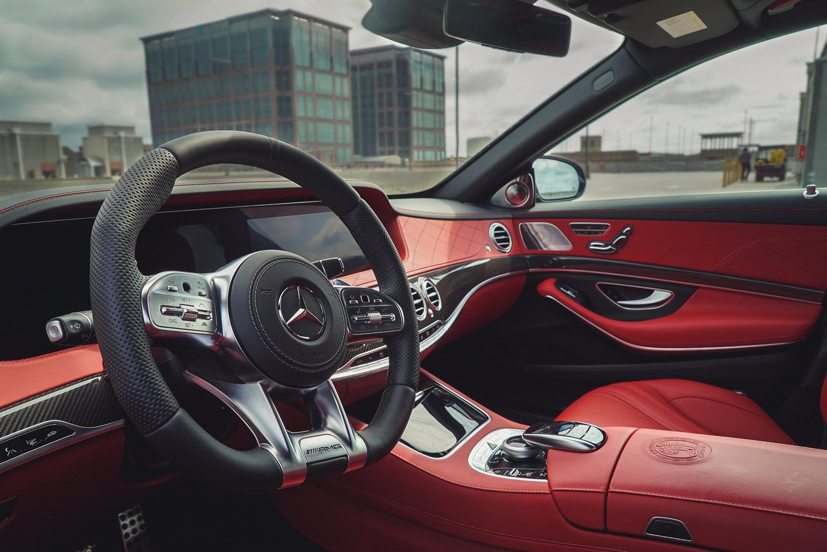 Designo nappa leather in classic red means sometimes the view is better inside than out. #S63 #AMG