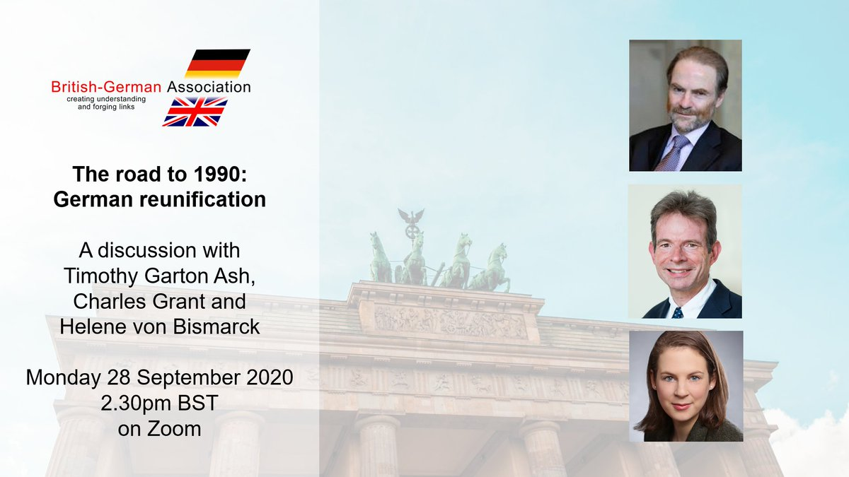 Delighted to be welcoming @fromTGA @CER_Grant and @HeleneBismarck on Monday 28 September for a discussion on the run-up to German reunification in 1990! #GermanReunification #TDE2020 #30YearsOfGermanUnity https://t.co/FEkvSY1BZG
