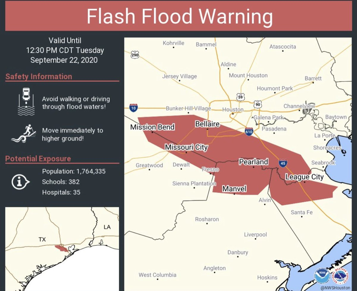 "⚠️Flash flood warning extended until 12:30pm. Rainfall totals have reached 5-10"" since overnight. Please stay safe & weather aware throughout the day as #TSBeta continues to move NE. Long rain event but we'll get through it together! I'll see you on @cw39houston starting at 1pm. https://t.co/zuZukGMeig"