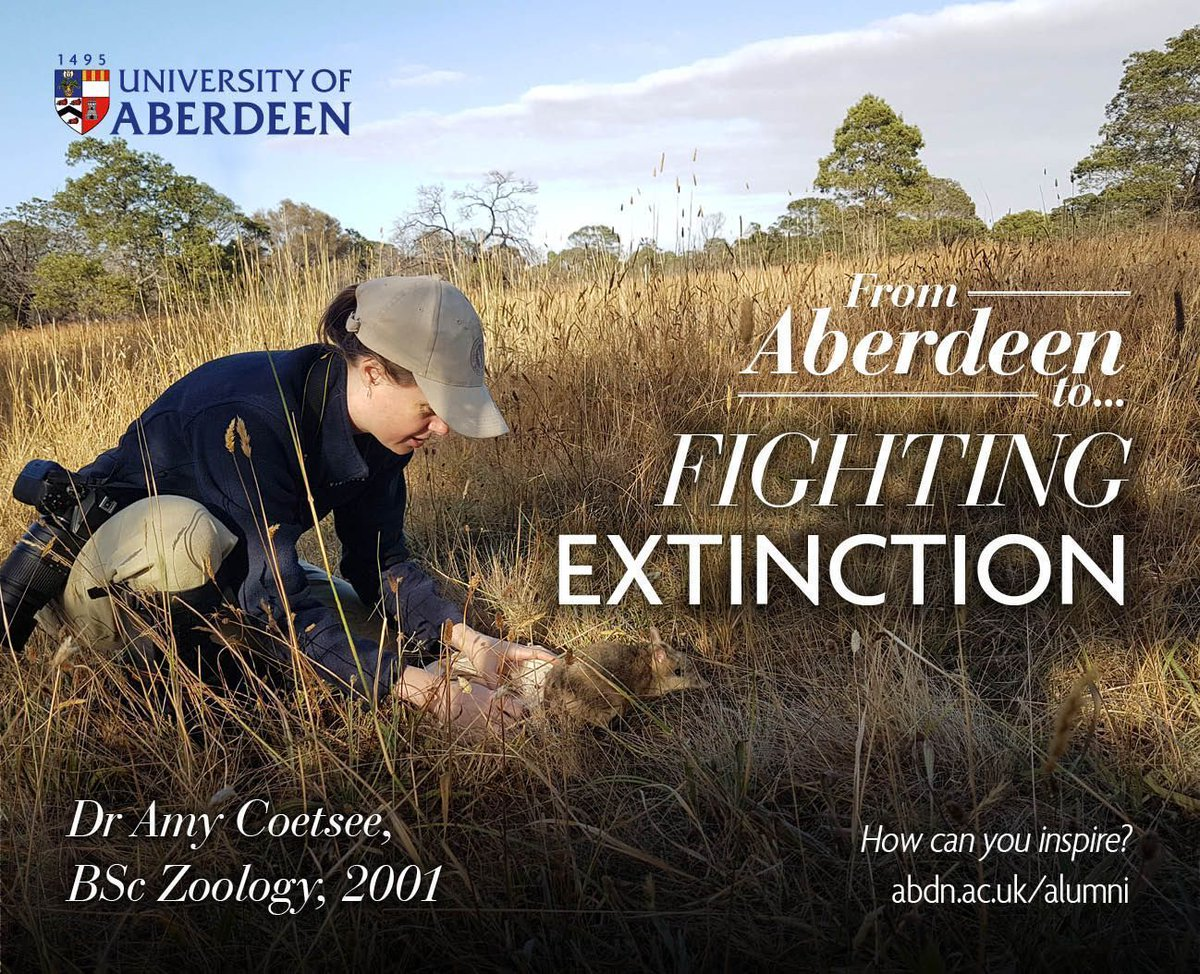 In her role as Threatened Species Biologist, @UoABioSci graduate Dr Amy Coatsee is leading the reintroduction of eastern barred bandicoots into the wild. Read her story here: https://t.co/xwuE30mV24 #ABDNFamily #FromAberdeenTo #FightingExtinction #ClimateWeek https://t.co/6rATdt3BOq